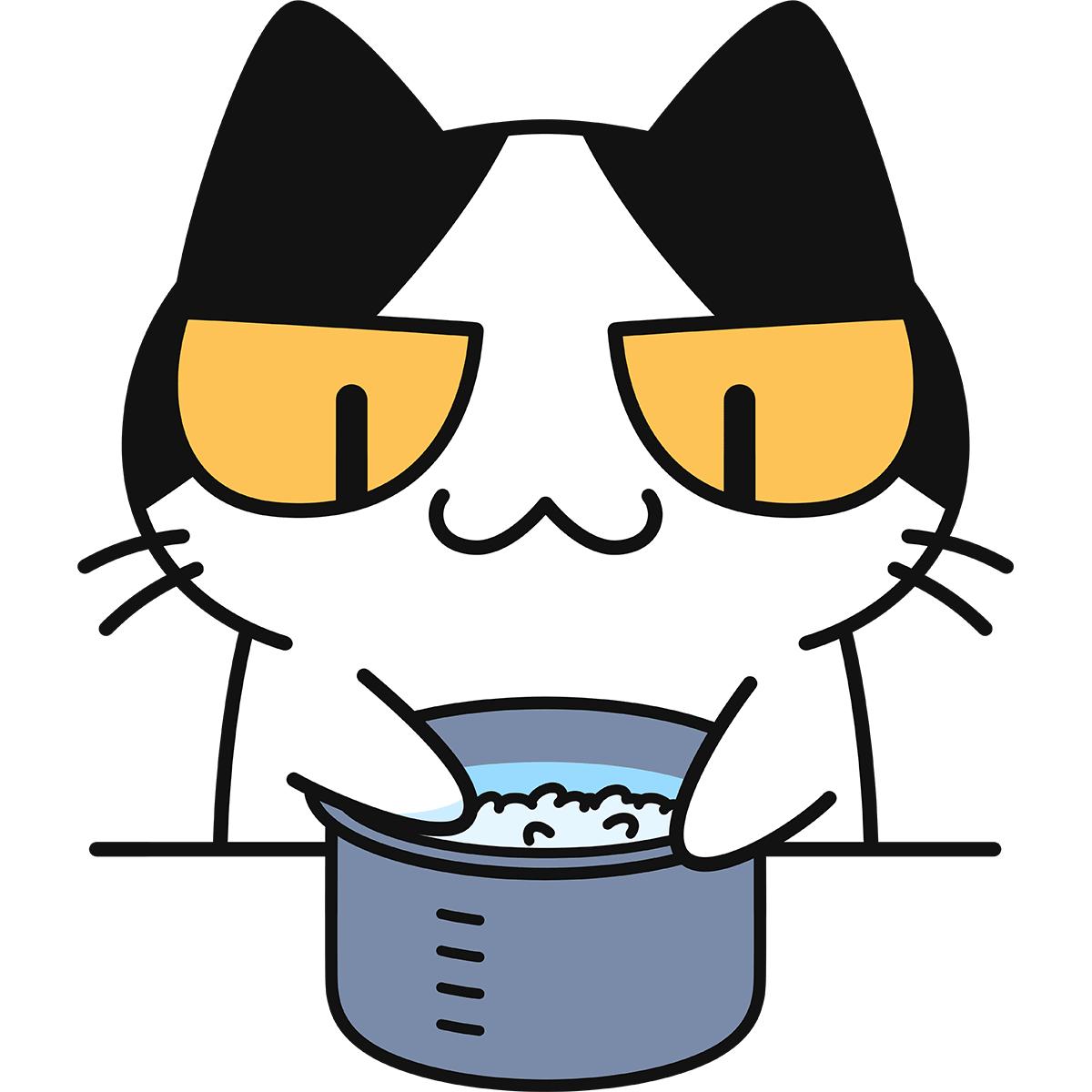 米を研ぐ猫の無料イラスト