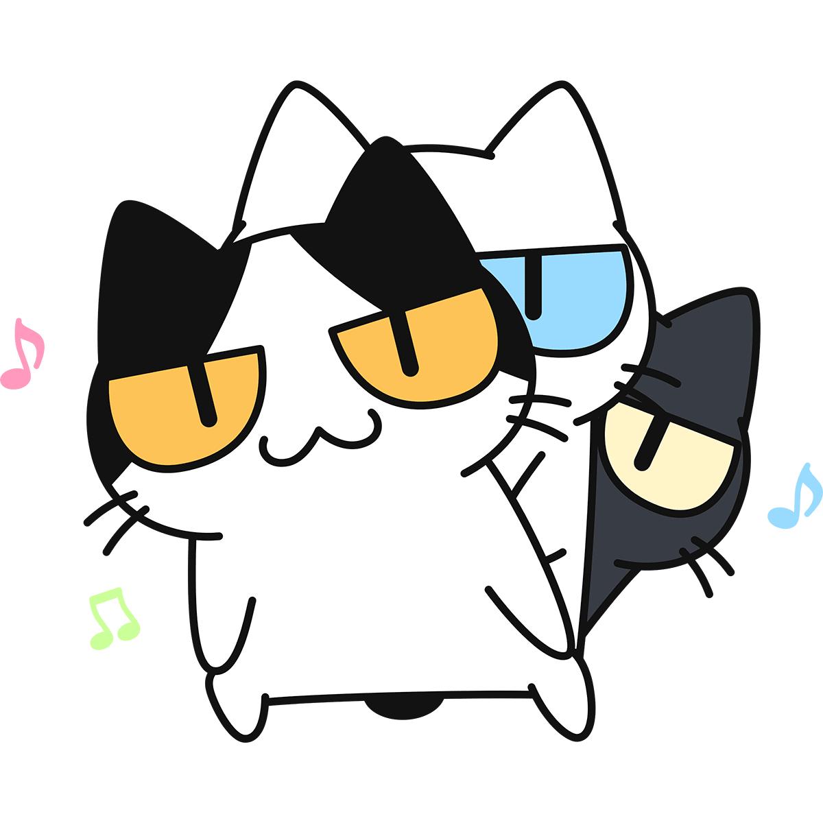 ダンスをする猫の無料イラスト