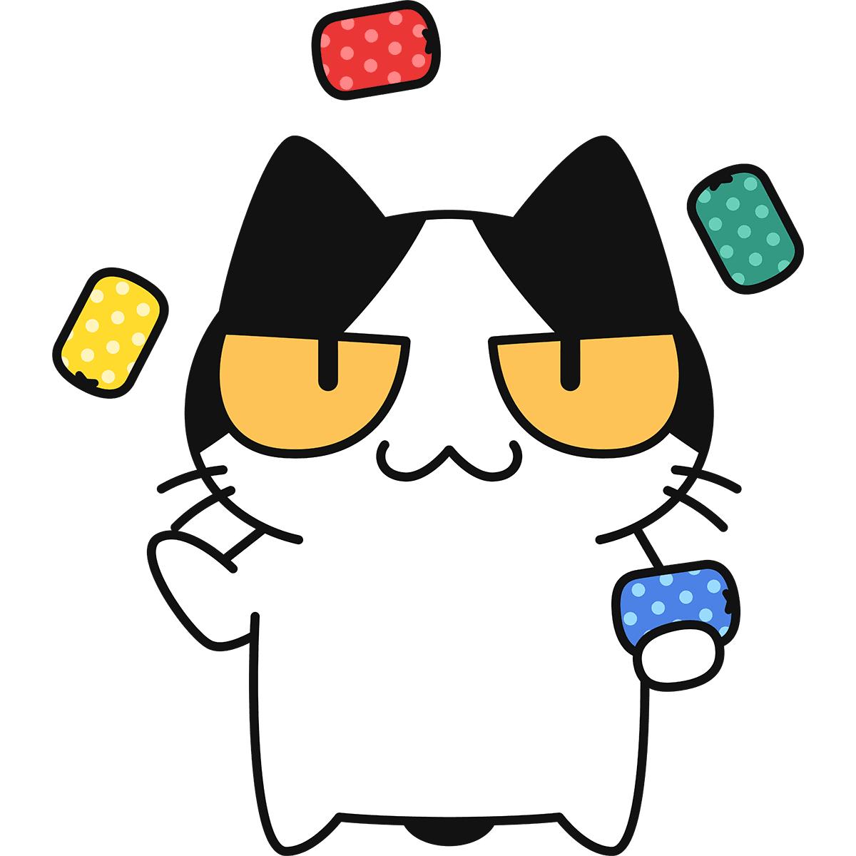 お手玉をする猫の無料イラスト