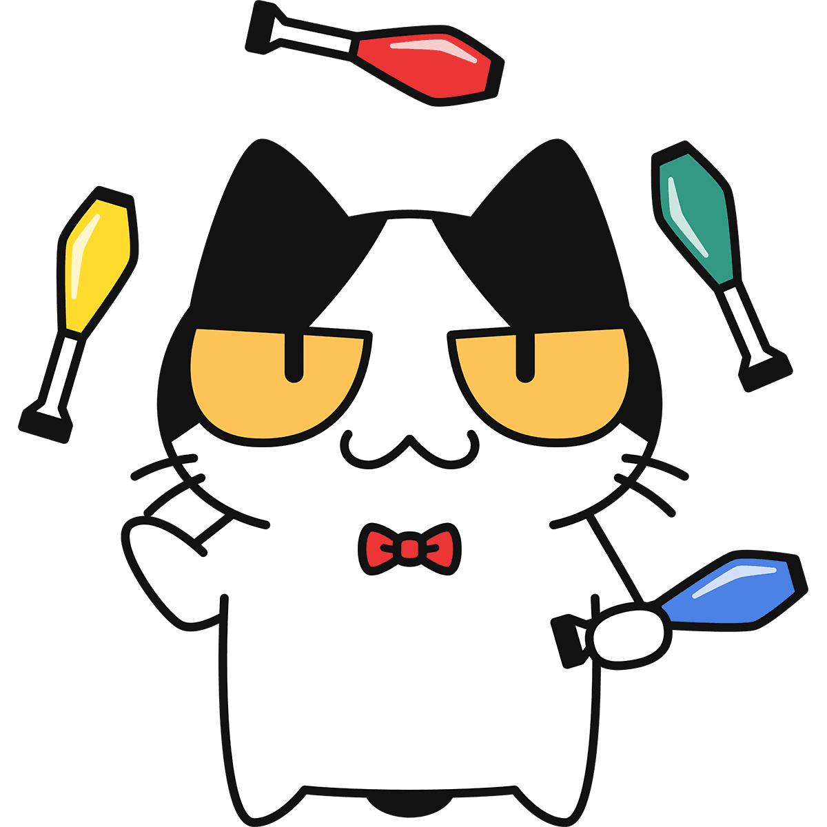 ジャグリングをする猫の無料イラスト