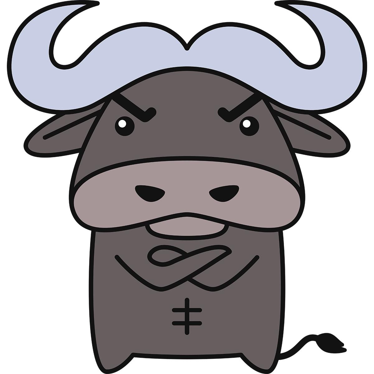 バッファロー・水牛(ゴロー)の無料イラスト