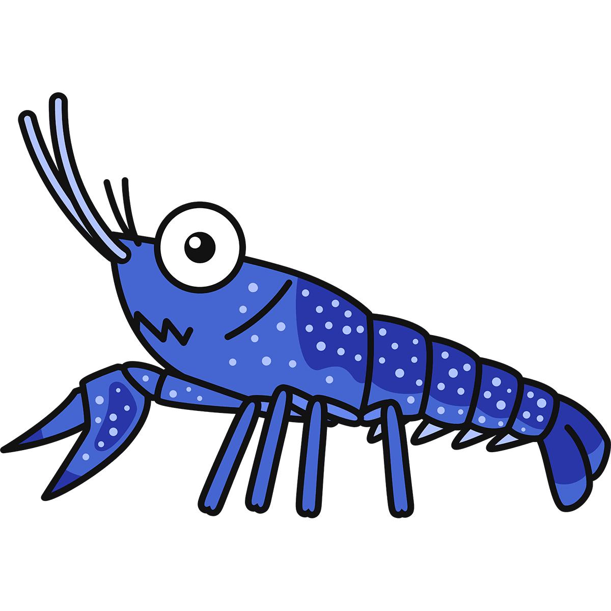 青いザリガニの無料イラスト