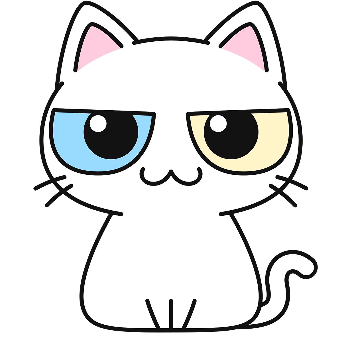 オッドアイの白猫の無料イラスト