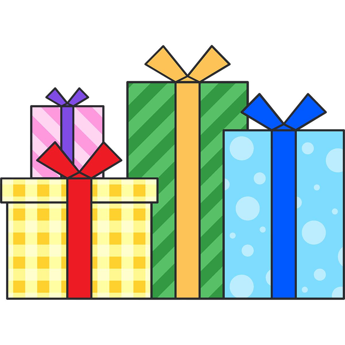 たくさんのプレゼントの無料イラスト