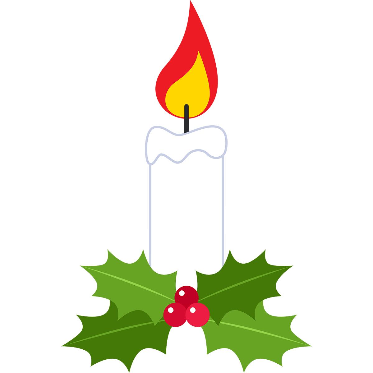 クリスマスキャンドルの無料イラスト