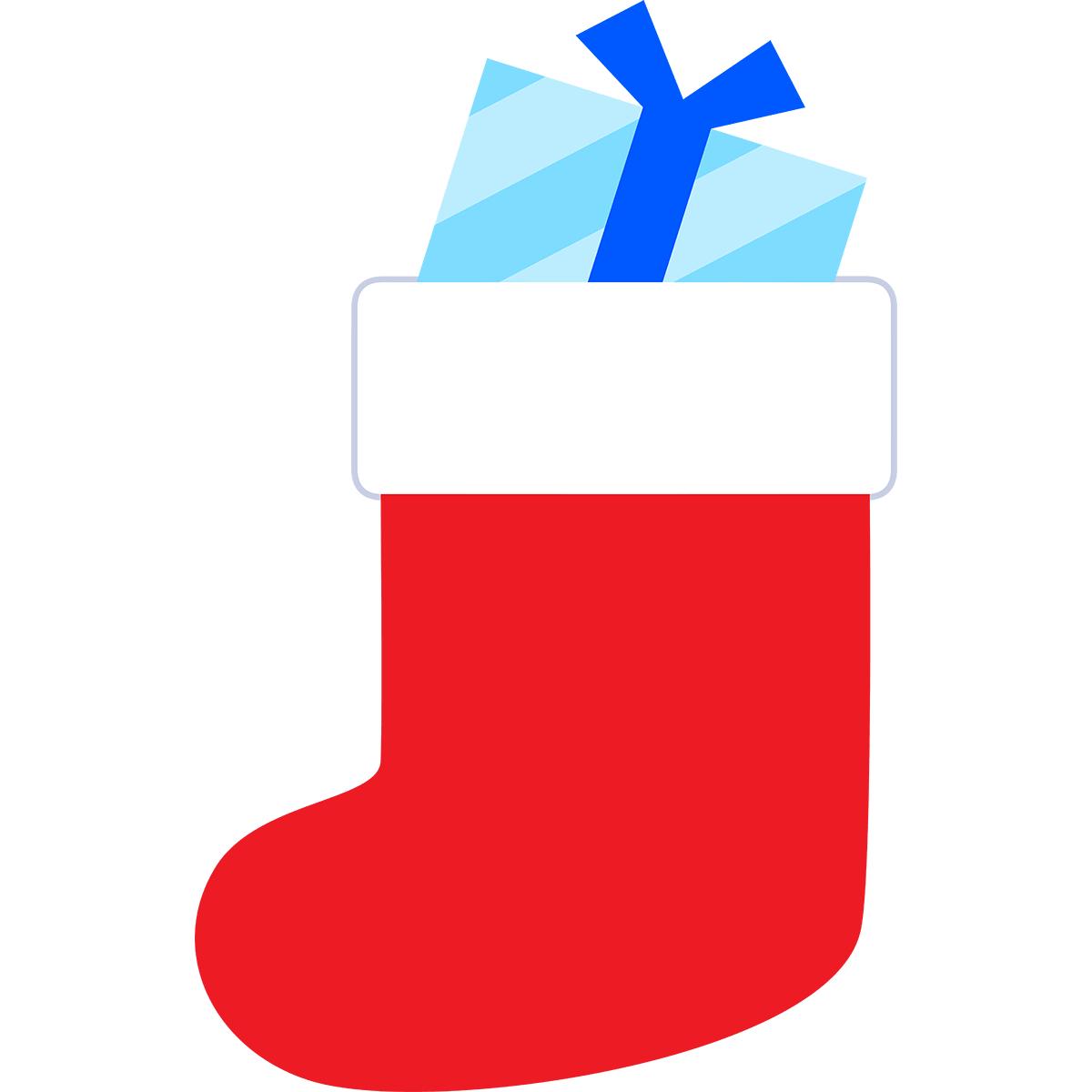 クリスマス靴下(プレゼント)の無料イラスト