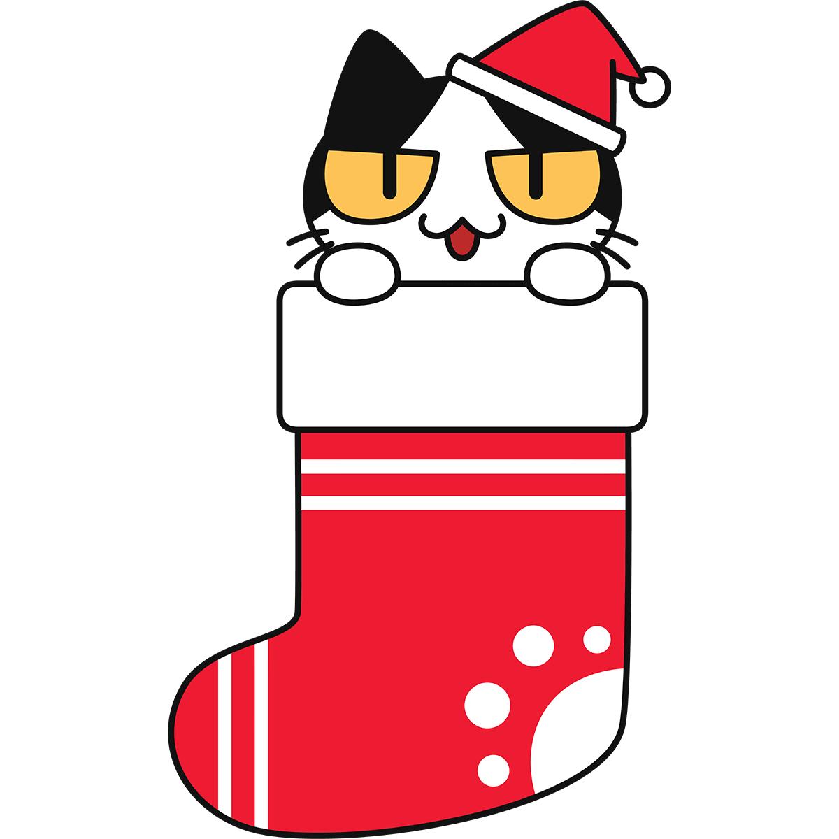 クリスマス靴下に入った猫の無料イラスト