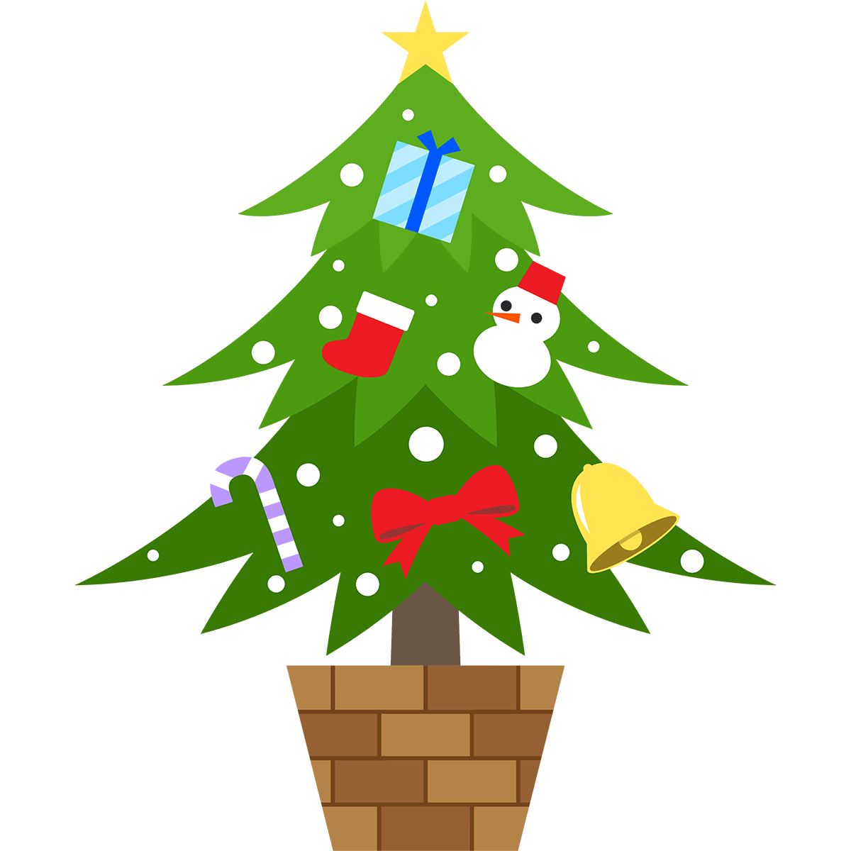豪華なクリスマスツリーの無料イラスト
