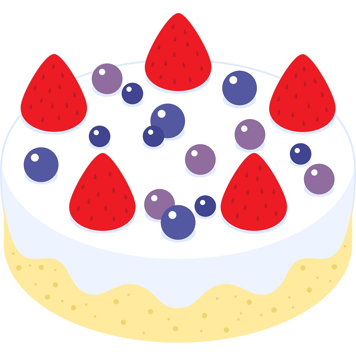 イチゴとブルーベリーのケーキの無料イラスト