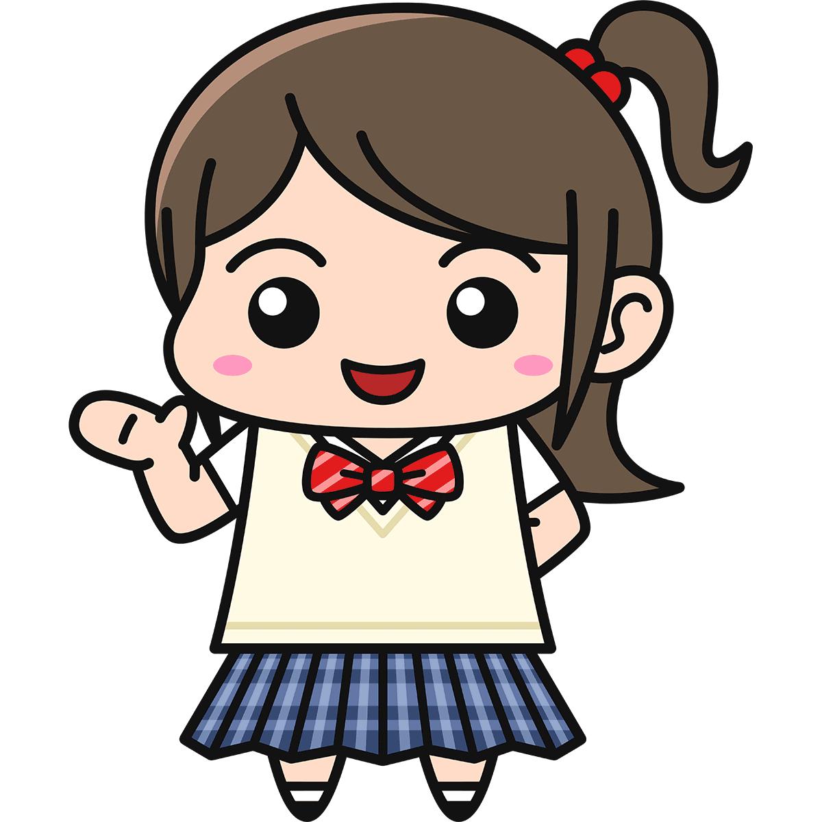 女子高生(案内/ブレザー)の無料イラスト
