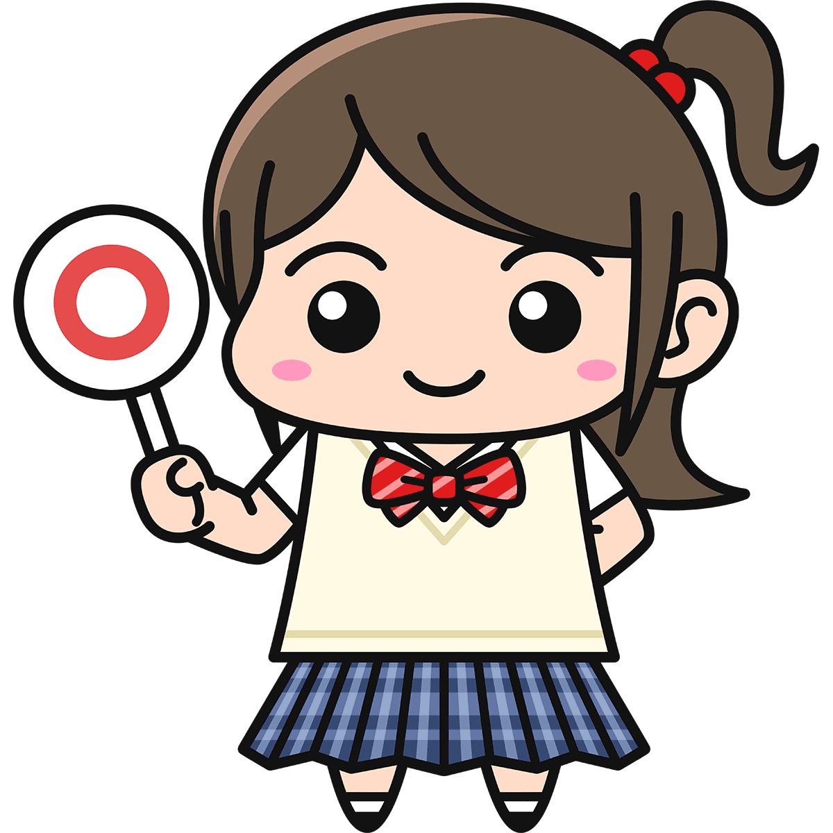 女子高生(正解/ブレザー)の無料イラスト