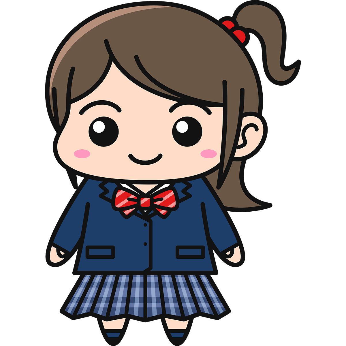 女子高生(ブレザー/冬服)の無料イラスト