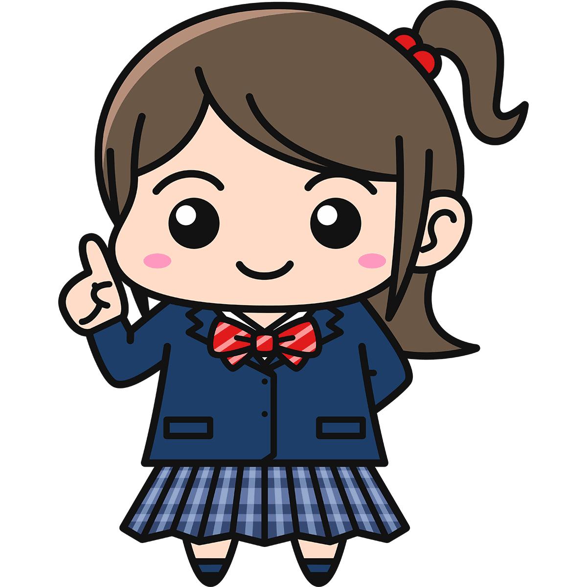 女子高生(説明/ブレザー/冬服)の無料イラスト