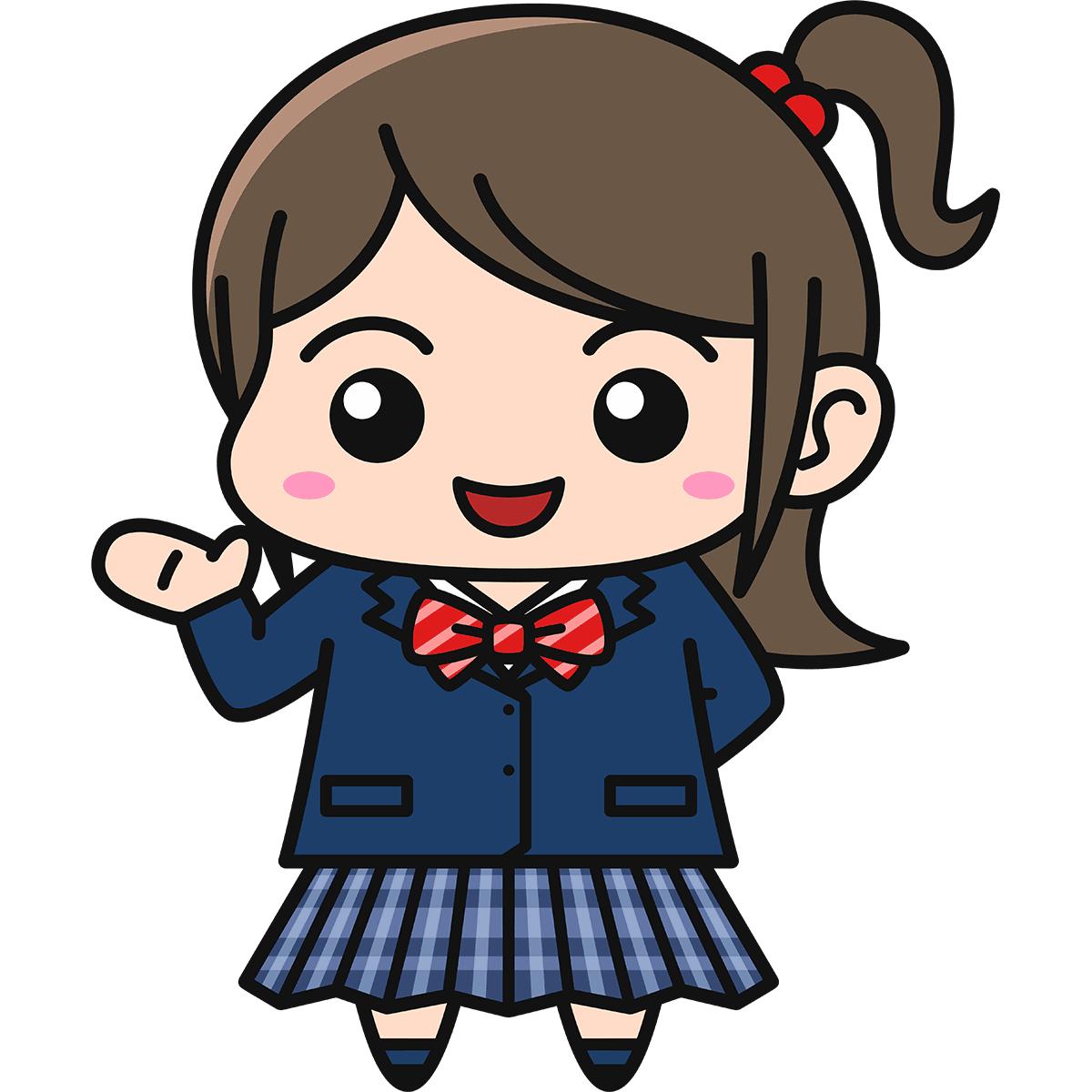 女子高生(案内/ブレザー/冬服)の無料イラスト