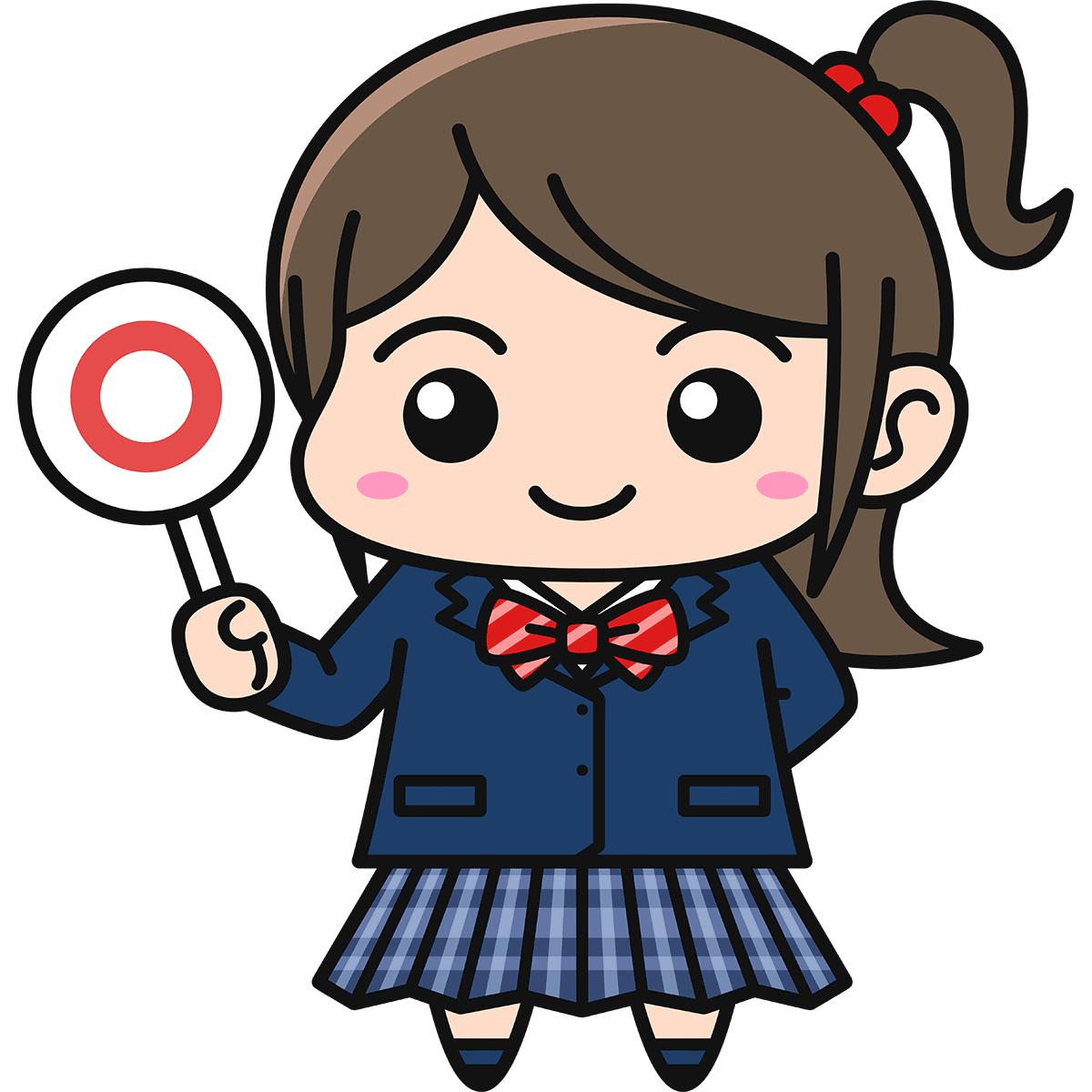 女子高生(正解/ブレザー/冬服)の無料イラスト