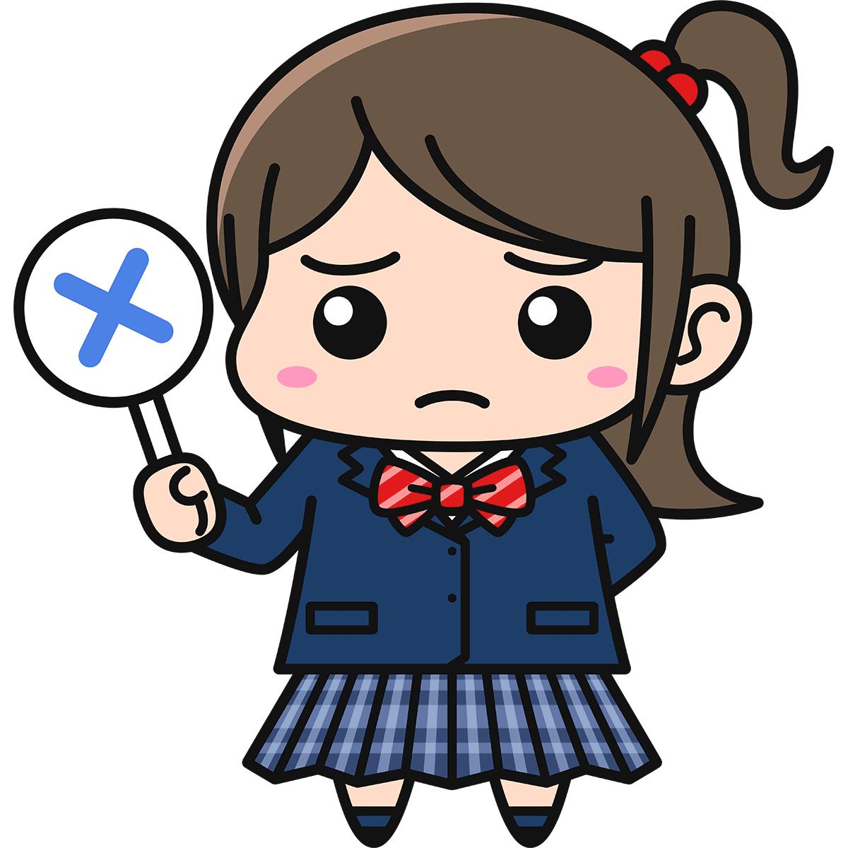 女子高生(不正解/ブレザー/冬服)の無料イラスト