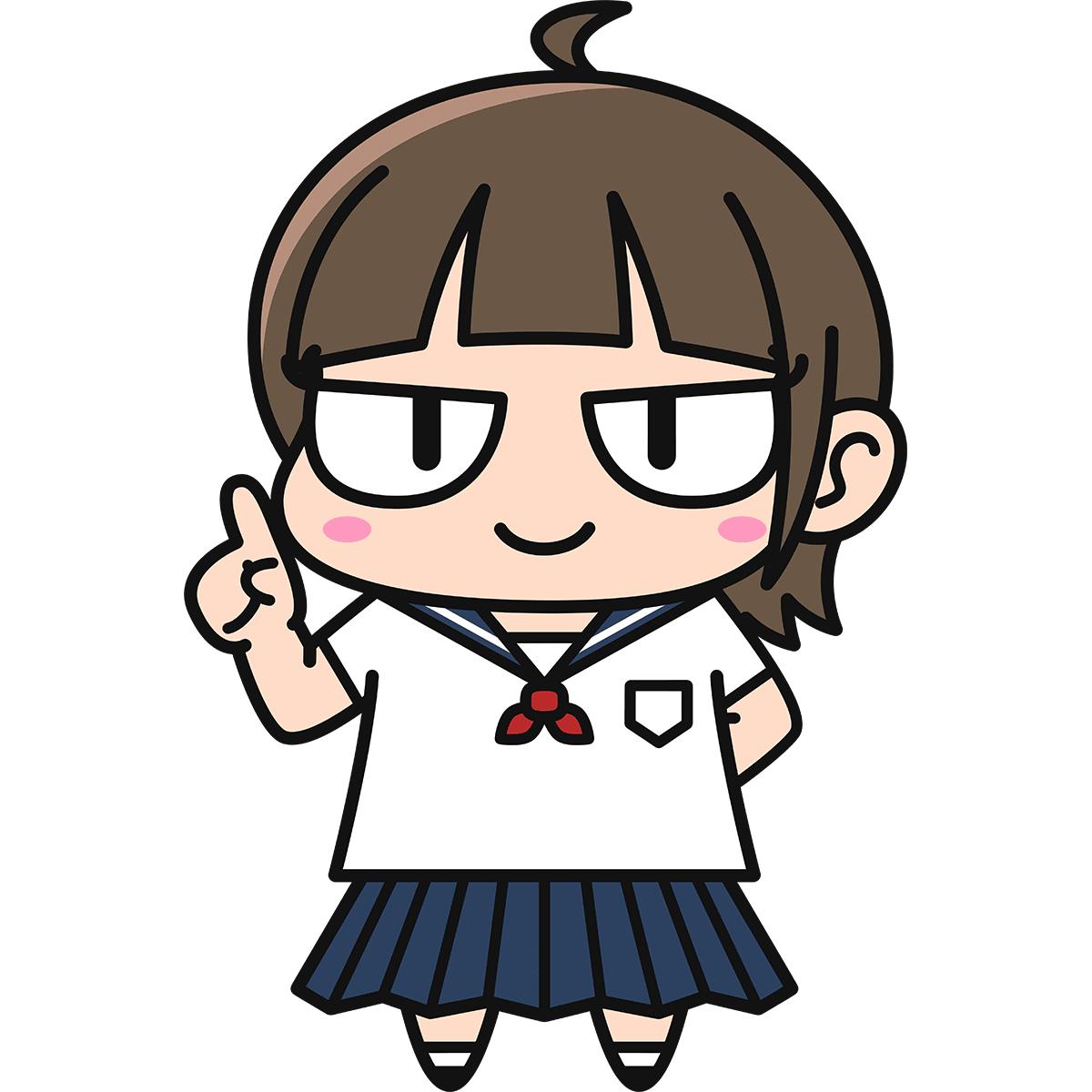 女子高生ダメコ(説明)の無料イラスト