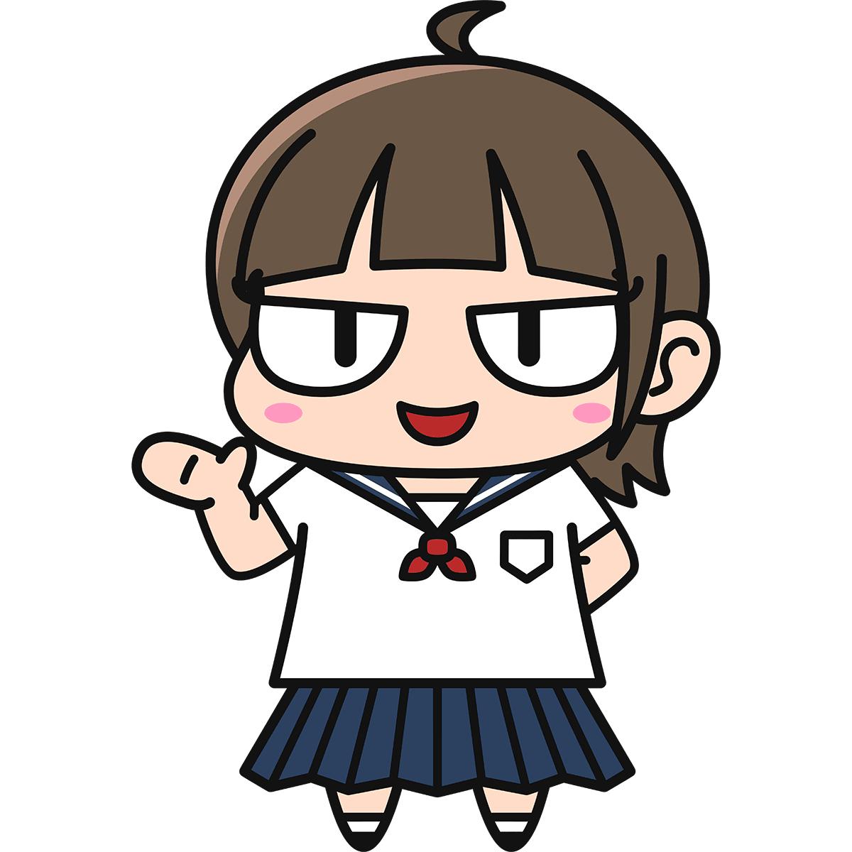 女子高生ダメコ(案内)の無料イラスト