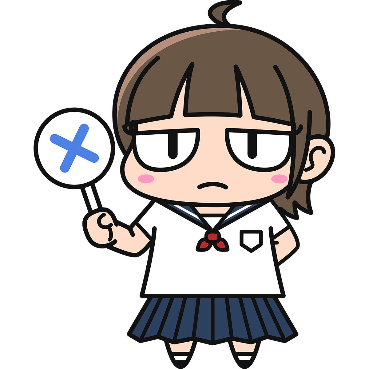 女子高生ダメコ(不正解)の無料イラスト
