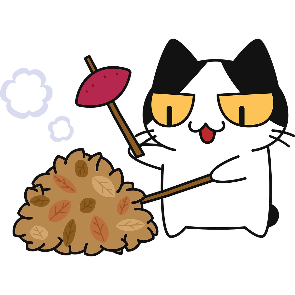 落ち葉で焼き芋をする猫の無料イラスト