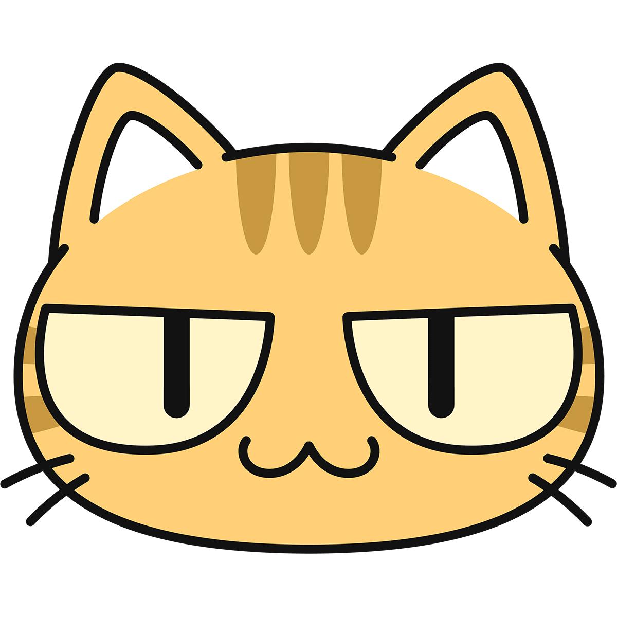 茶トラ猫の顔(猫目)の無料イラスト