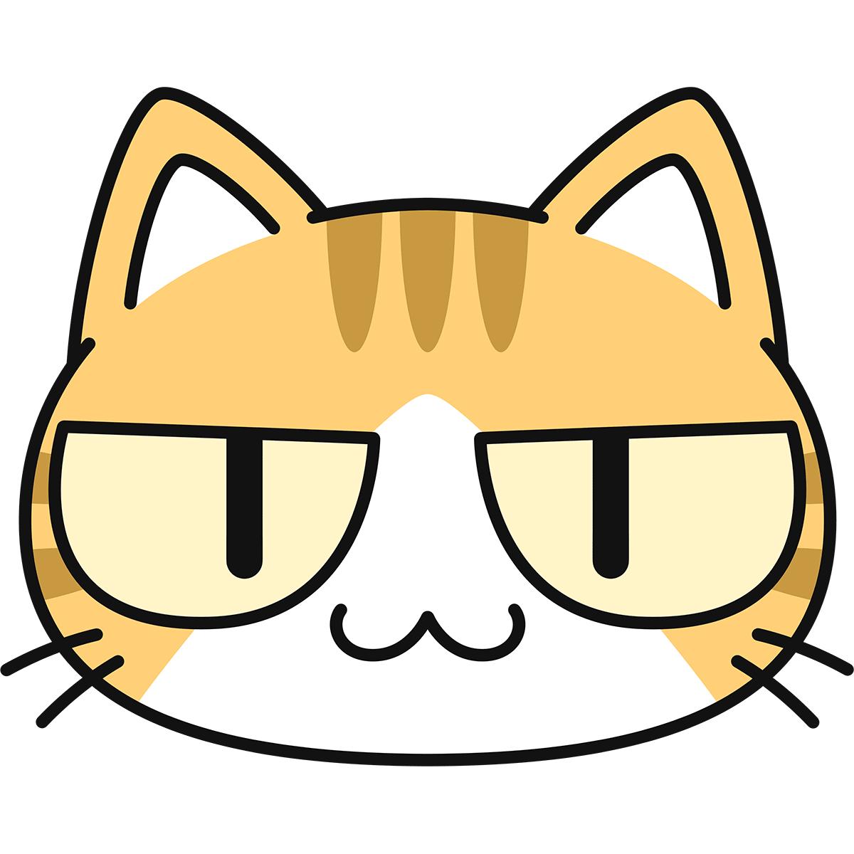 茶白猫の顔(猫目)の無料イラスト