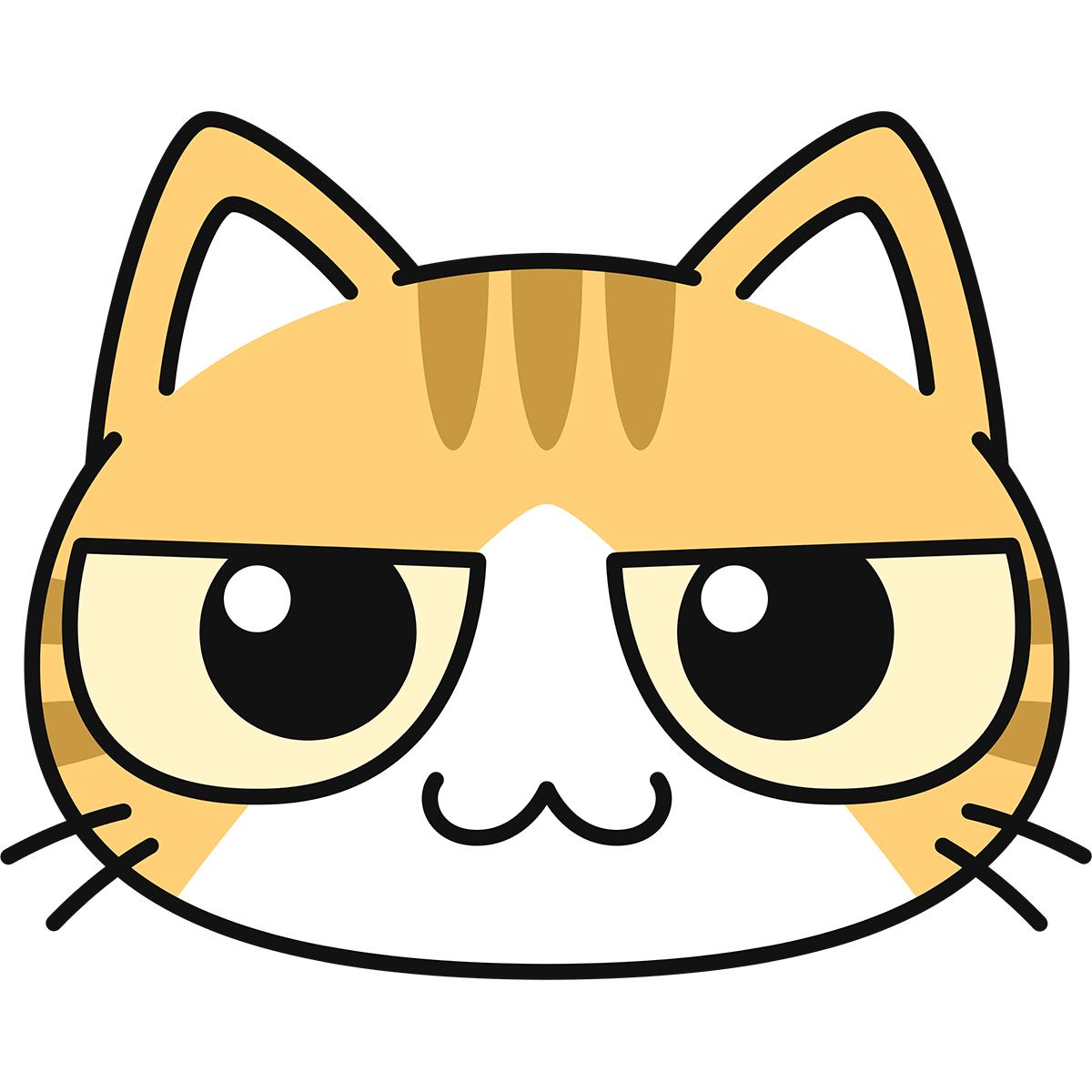 茶白猫の顔の無料イラスト