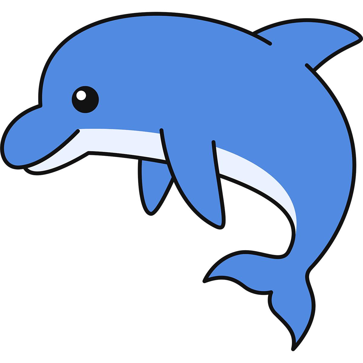ジャンプするイルカの無料イラスト