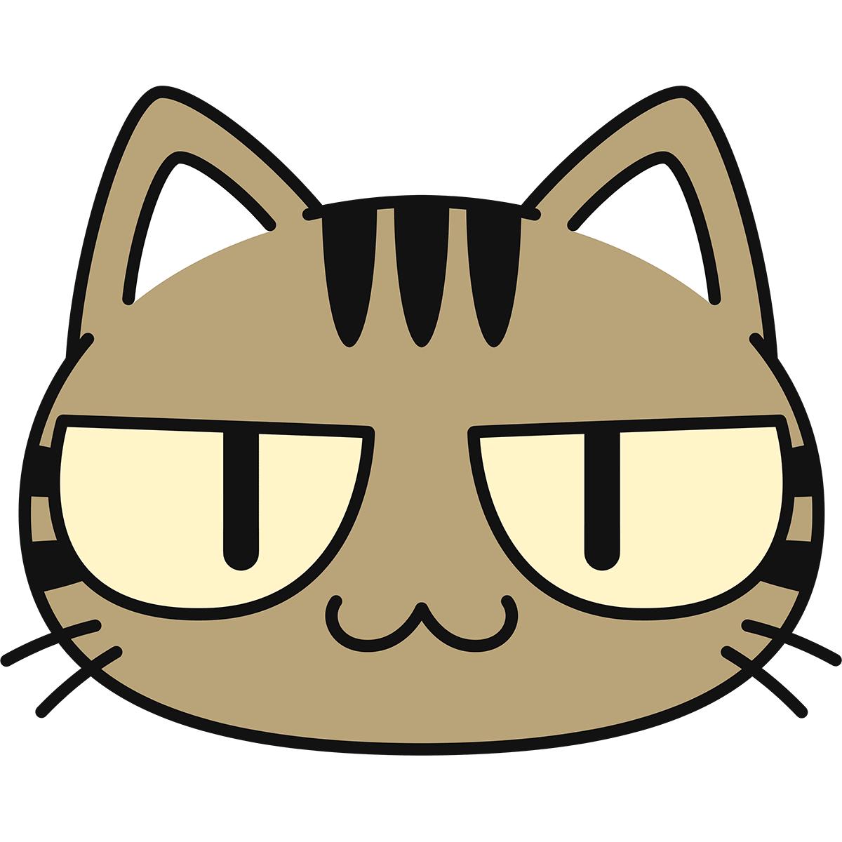 キジトラ猫の顔(猫目)の無料イラスト