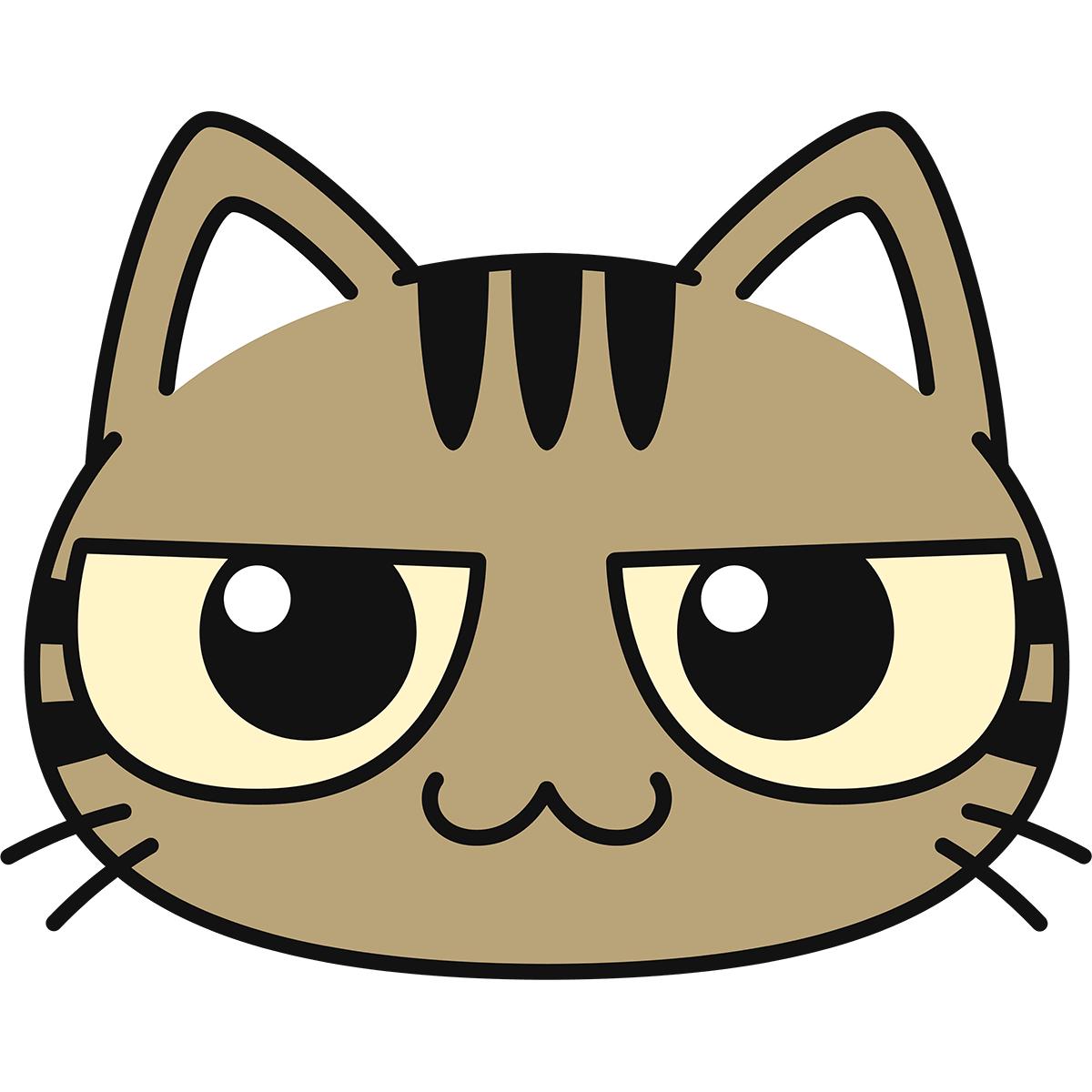 キジトラ猫の顔の無料イラスト