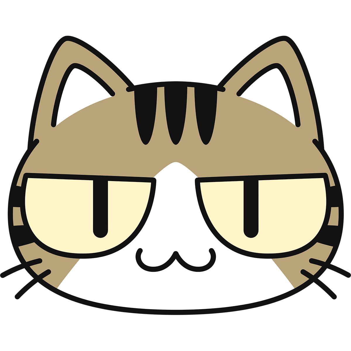 キジ白猫の顔(猫目)の無料イラスト