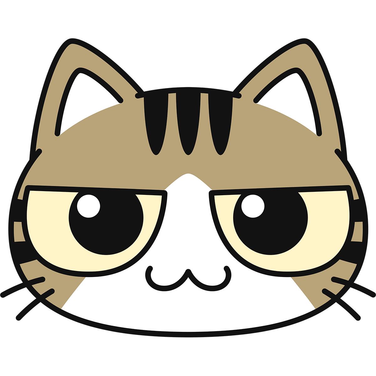 キジ白猫の顔の無料イラスト