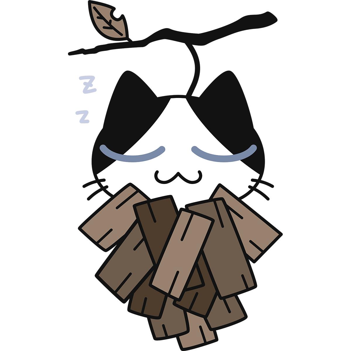 ミノムシになった猫の無料イラスト