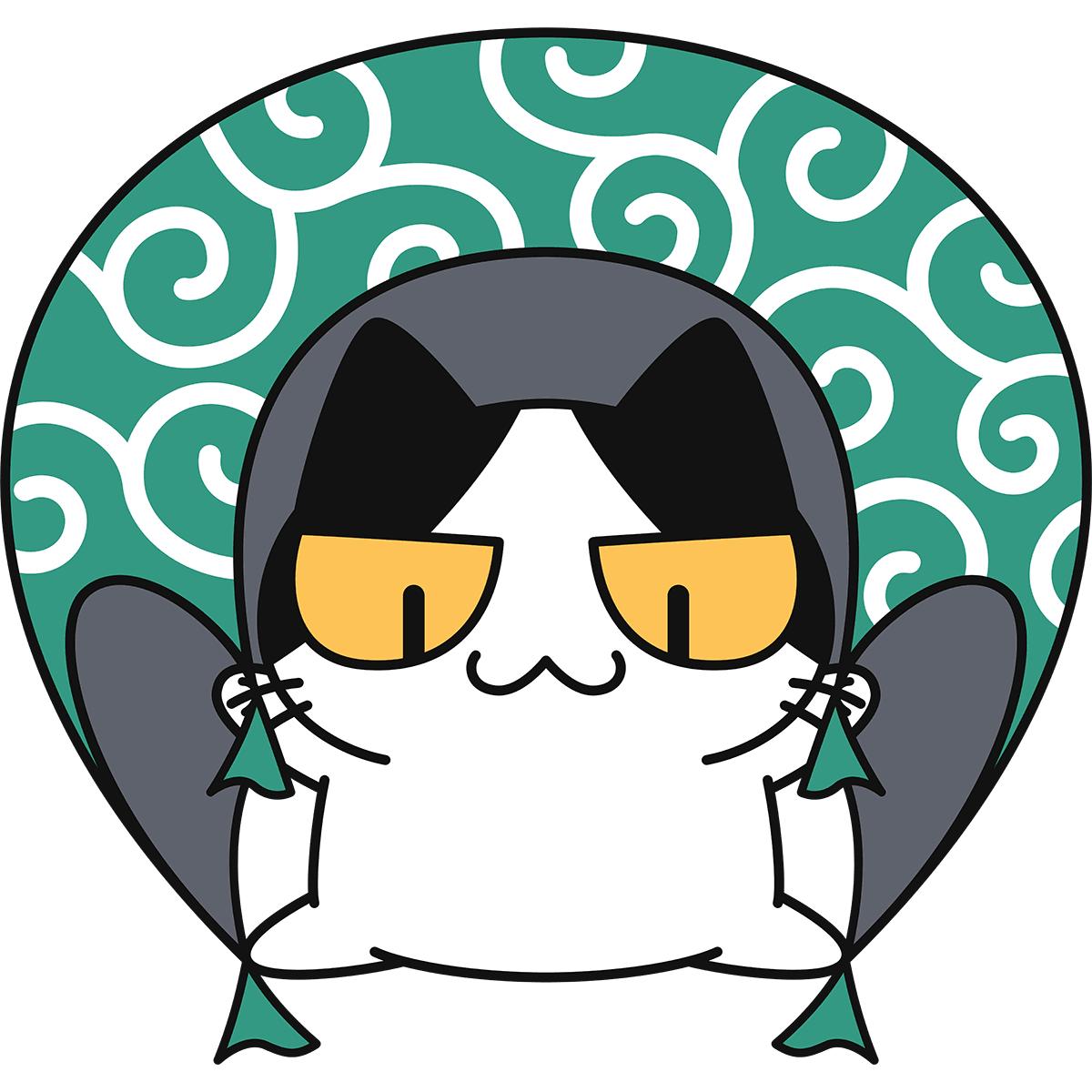 ムササビの術を使う猫の無料イラスト