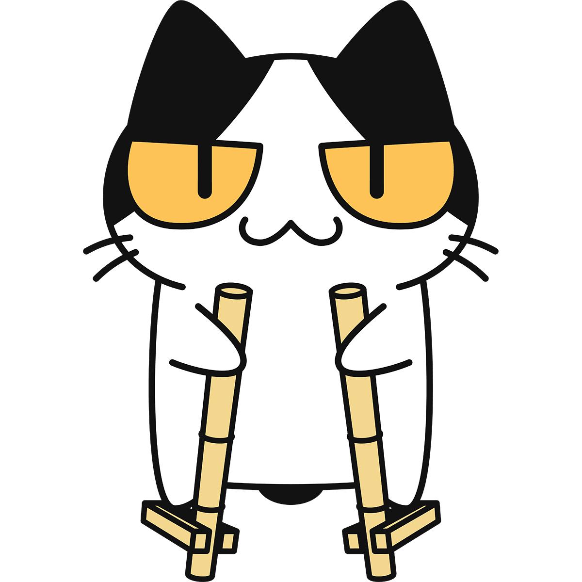 竹馬をする猫の無料イラスト