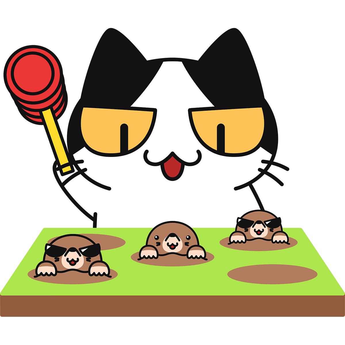 モグラたたきをする猫の無料イラスト