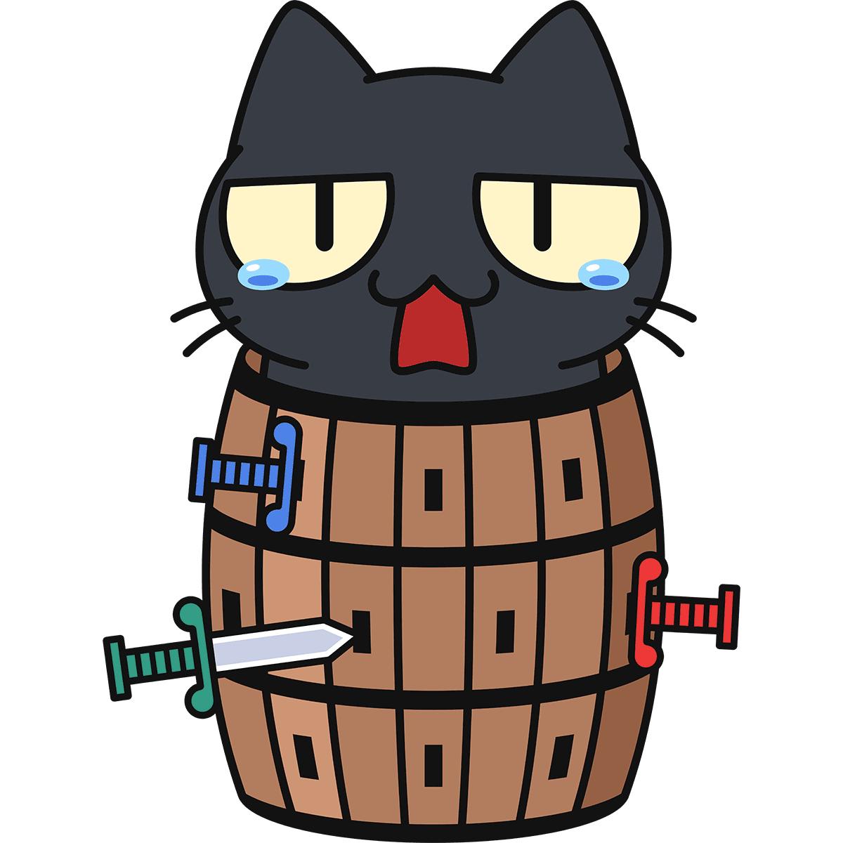 黒猫危機一発の無料イラスト
