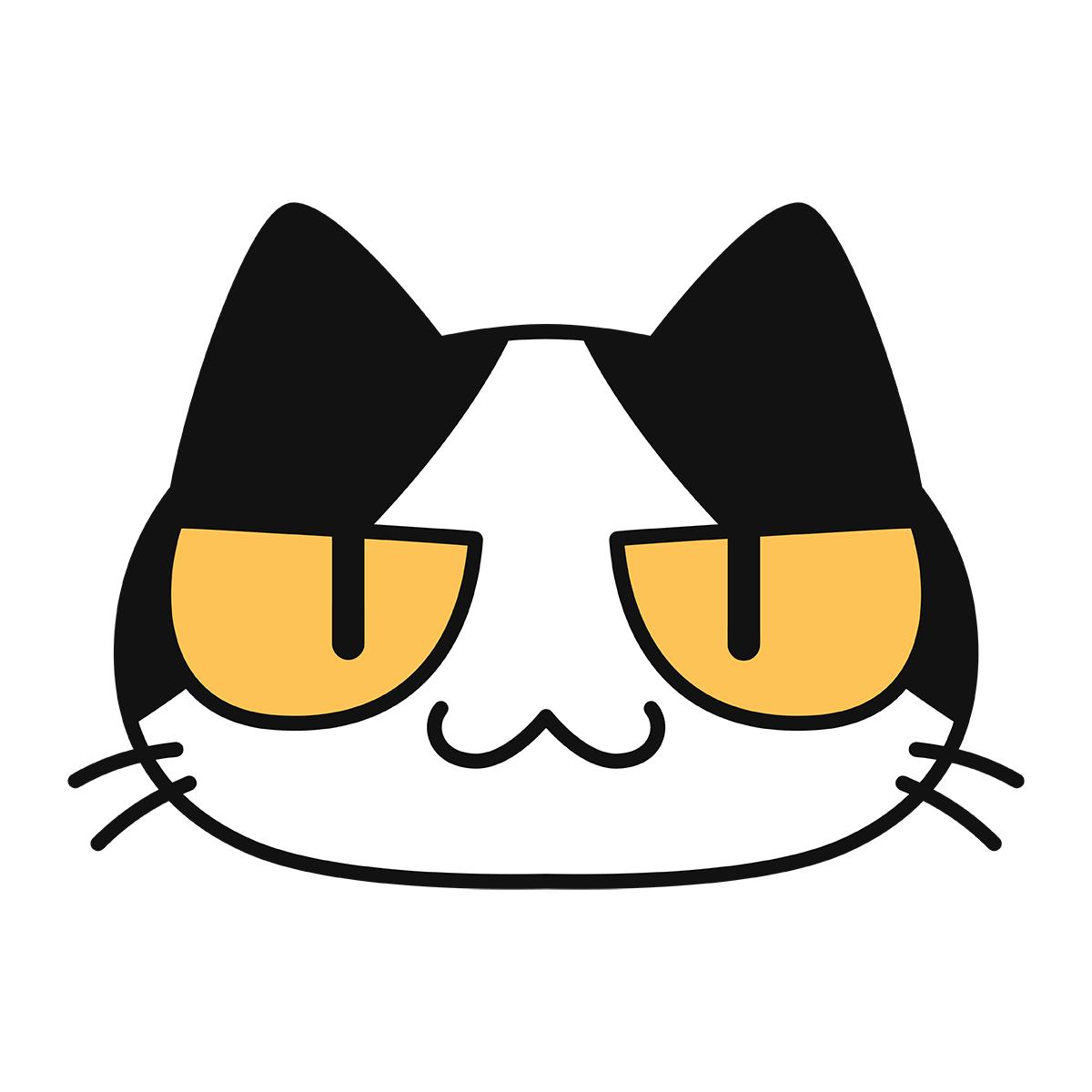 猫の顔(コハク)の無料イラスト
