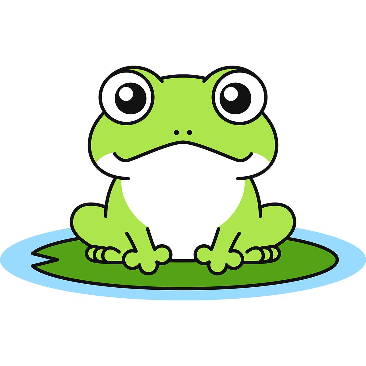 蓮の葉に乗るカエルの無料イラスト