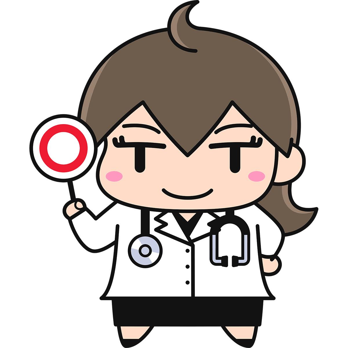 正解を出す女性医師の無料イラスト