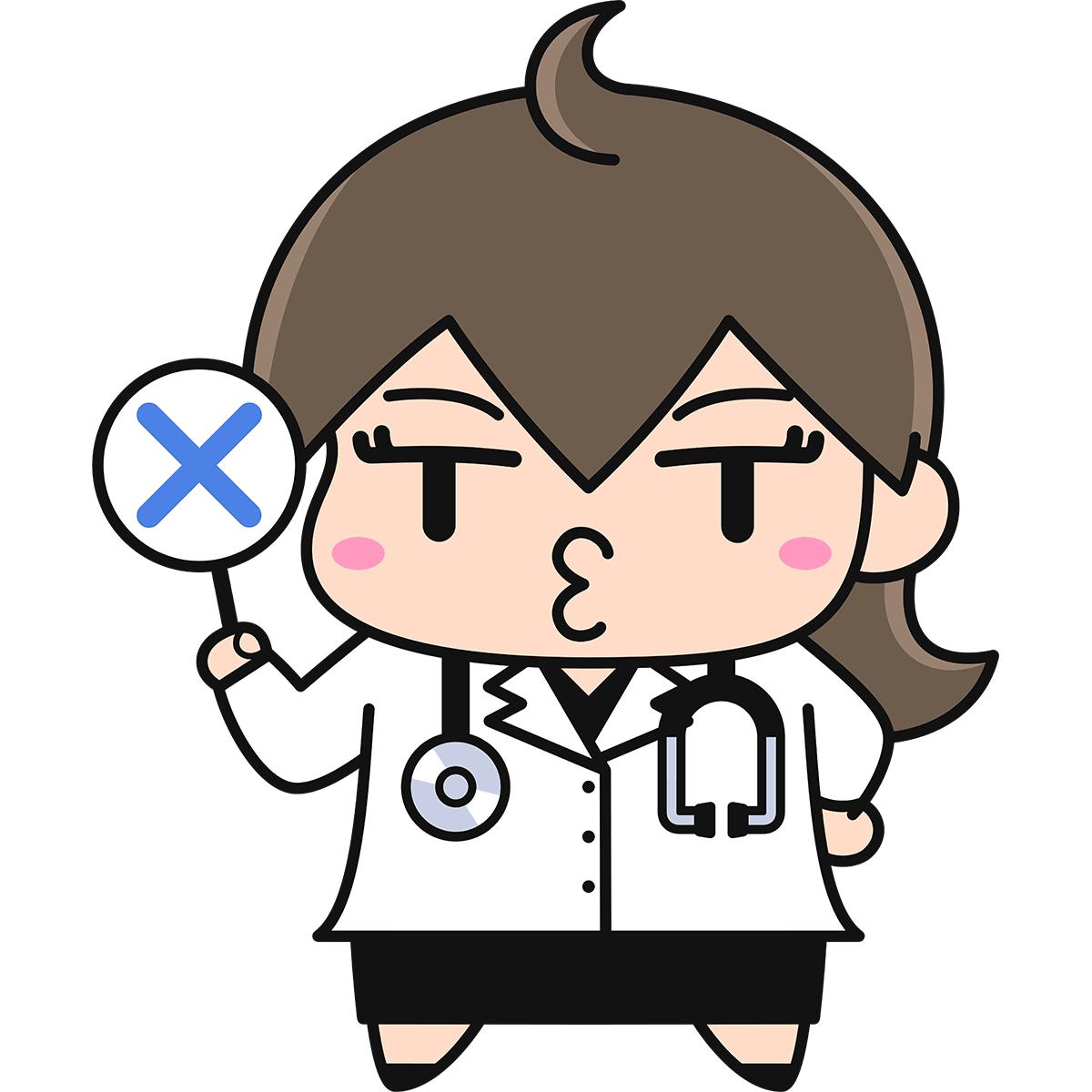 不正解を出す女性医師の無料イラスト