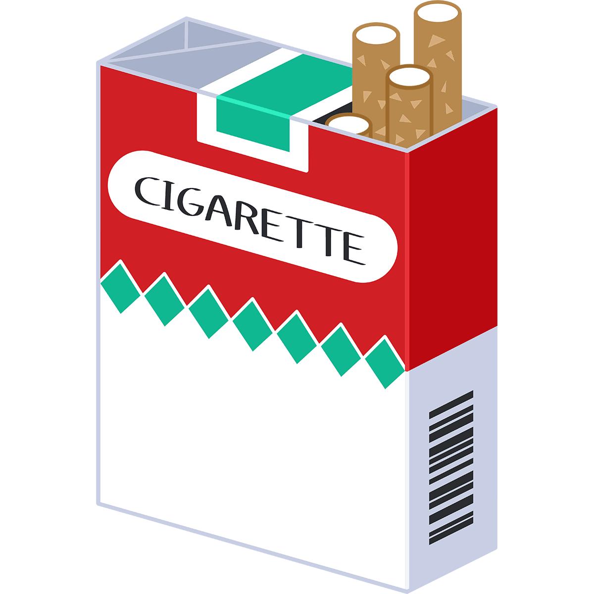箱に入ったタバコの無料イラスト