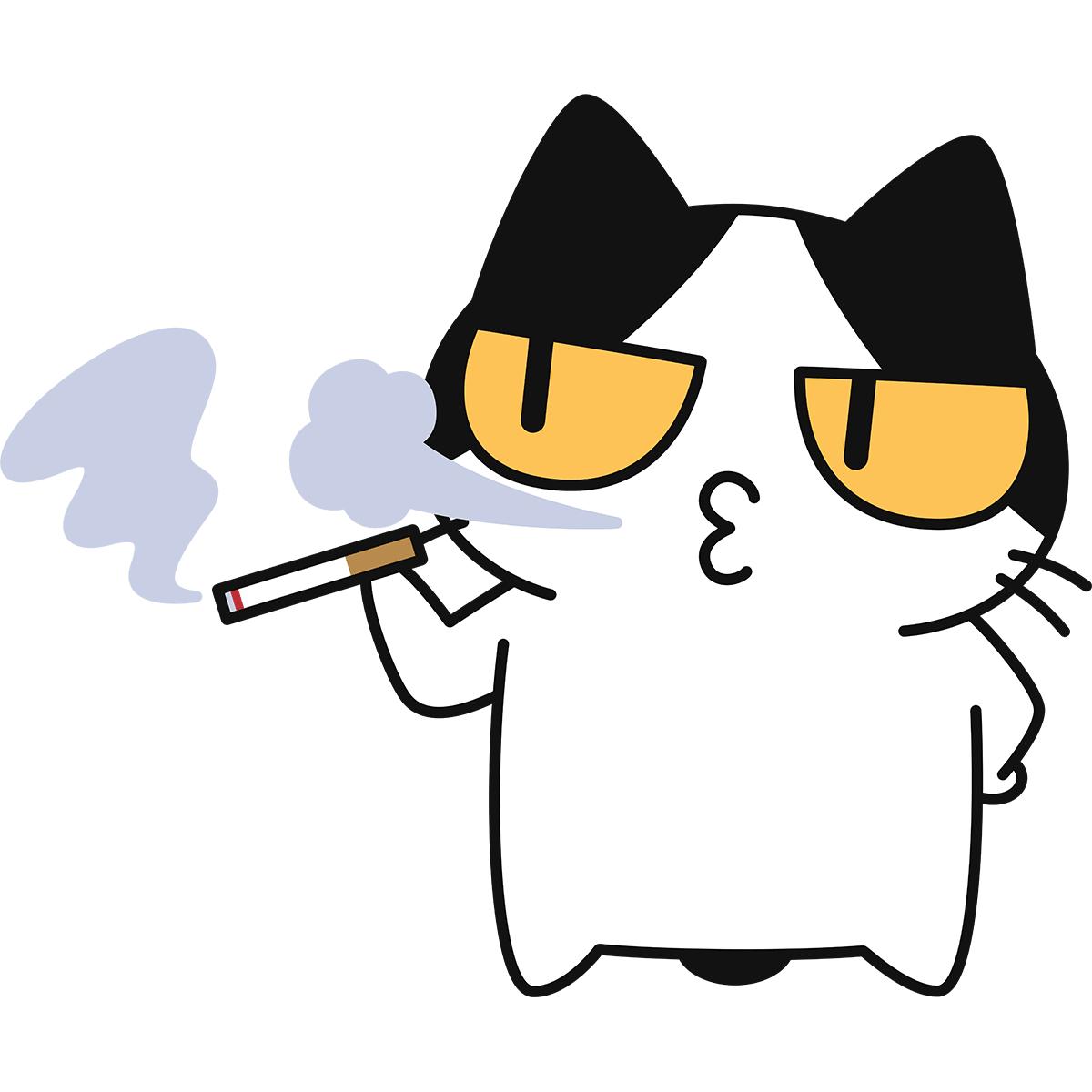 タバコを吸う猫の無料イラスト