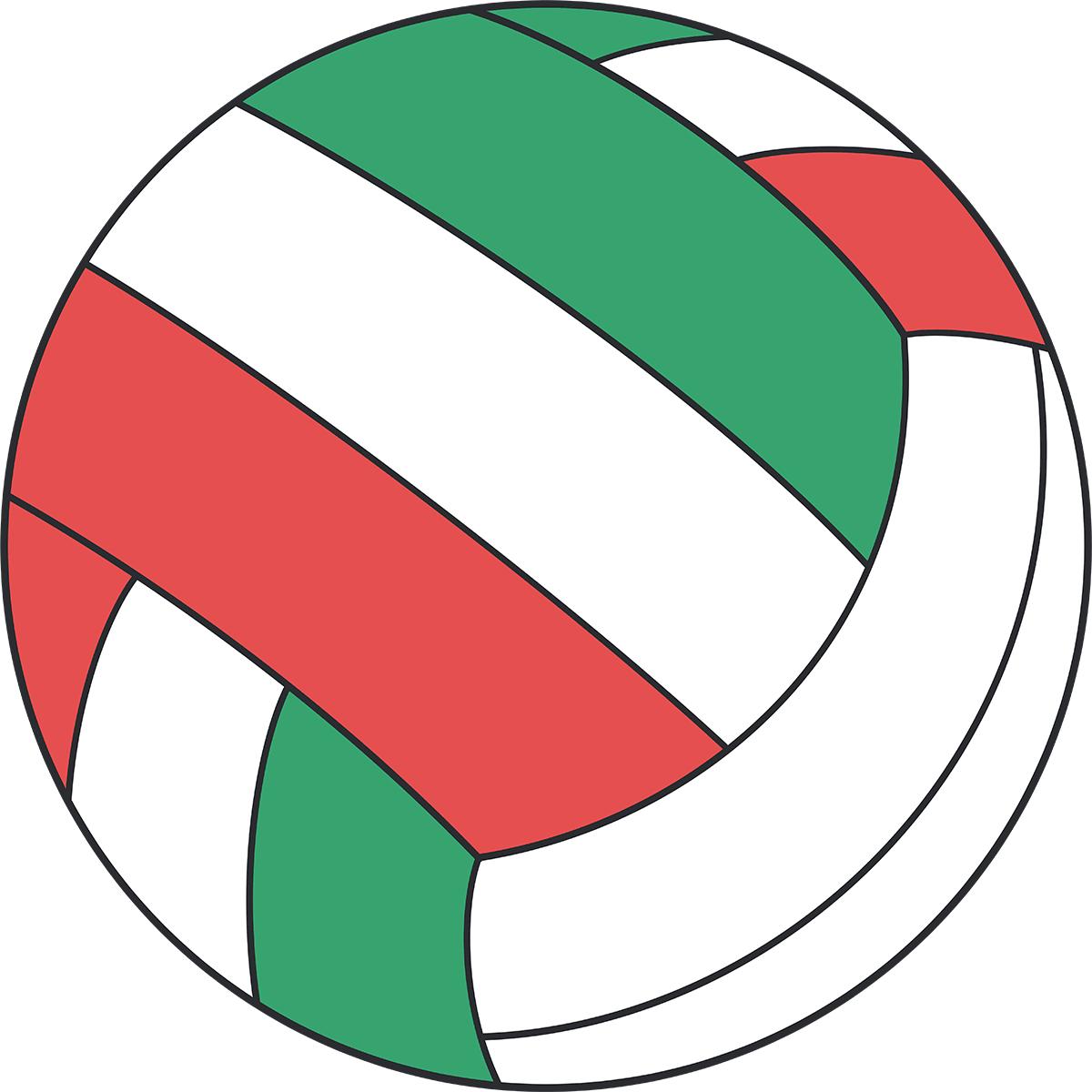 カラフルなバレーボールの無料イラスト