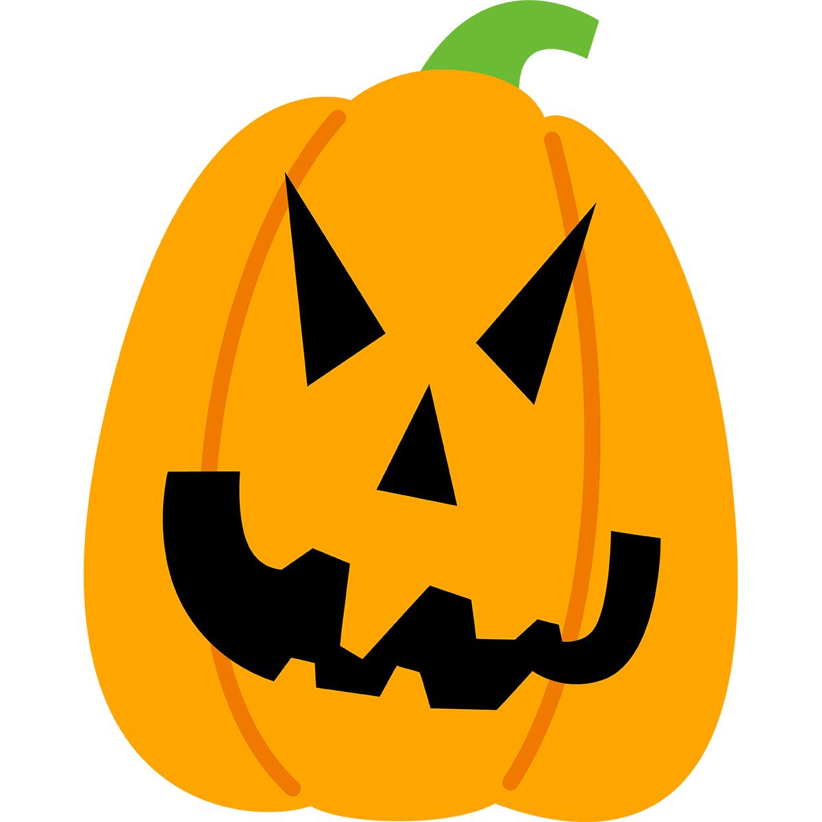 ハロウィンかぼちゃ(細型)の無料イラスト