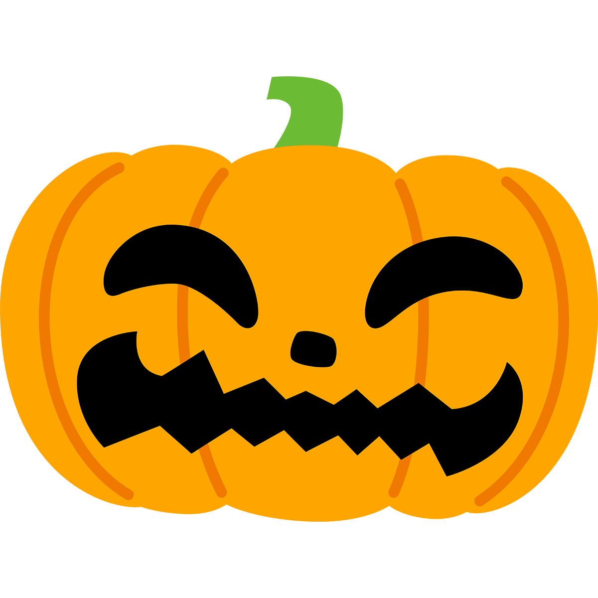 ハロウィンかぼちゃ(平たい)の無料イラスト