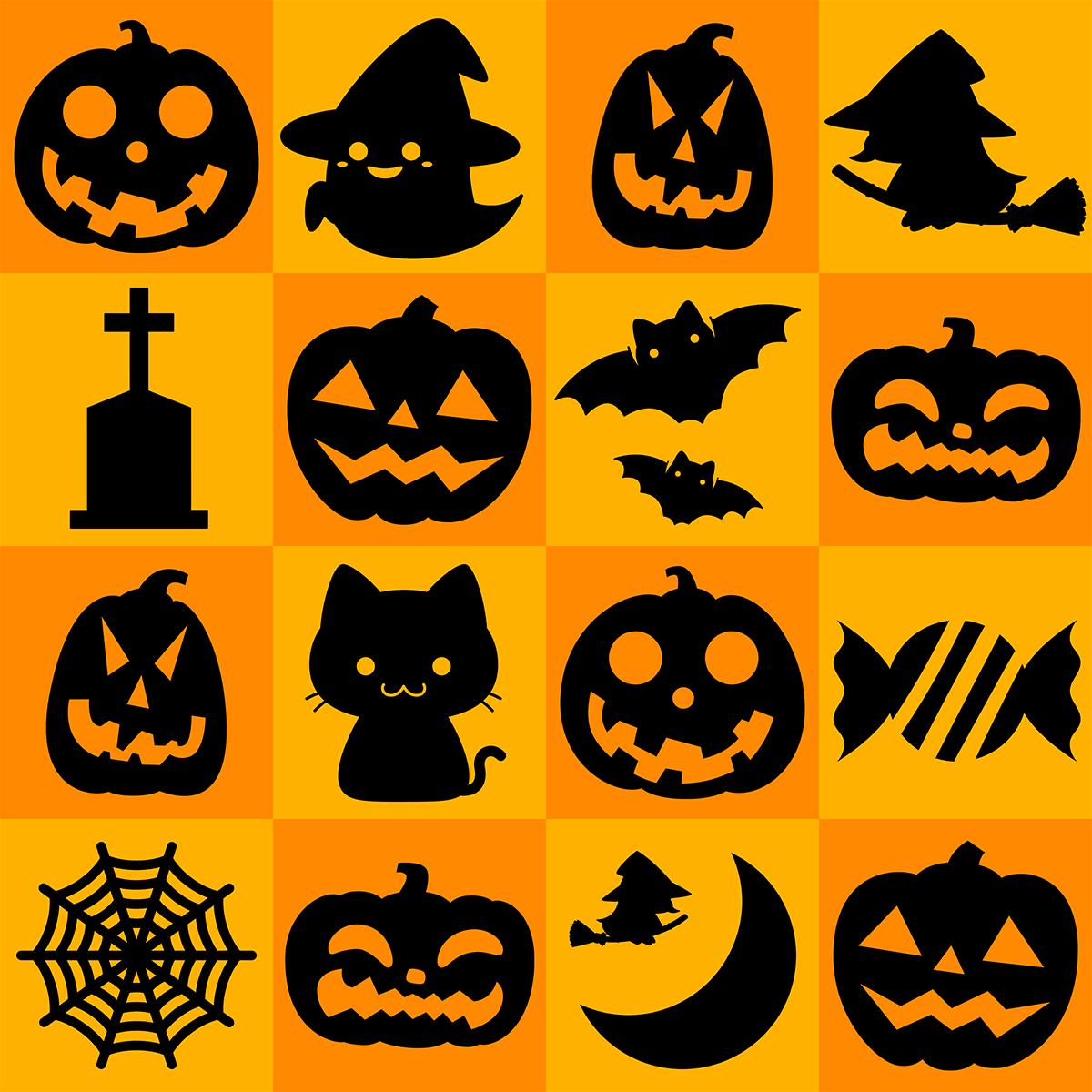 【パターン】ハロウィンの無料イラスト