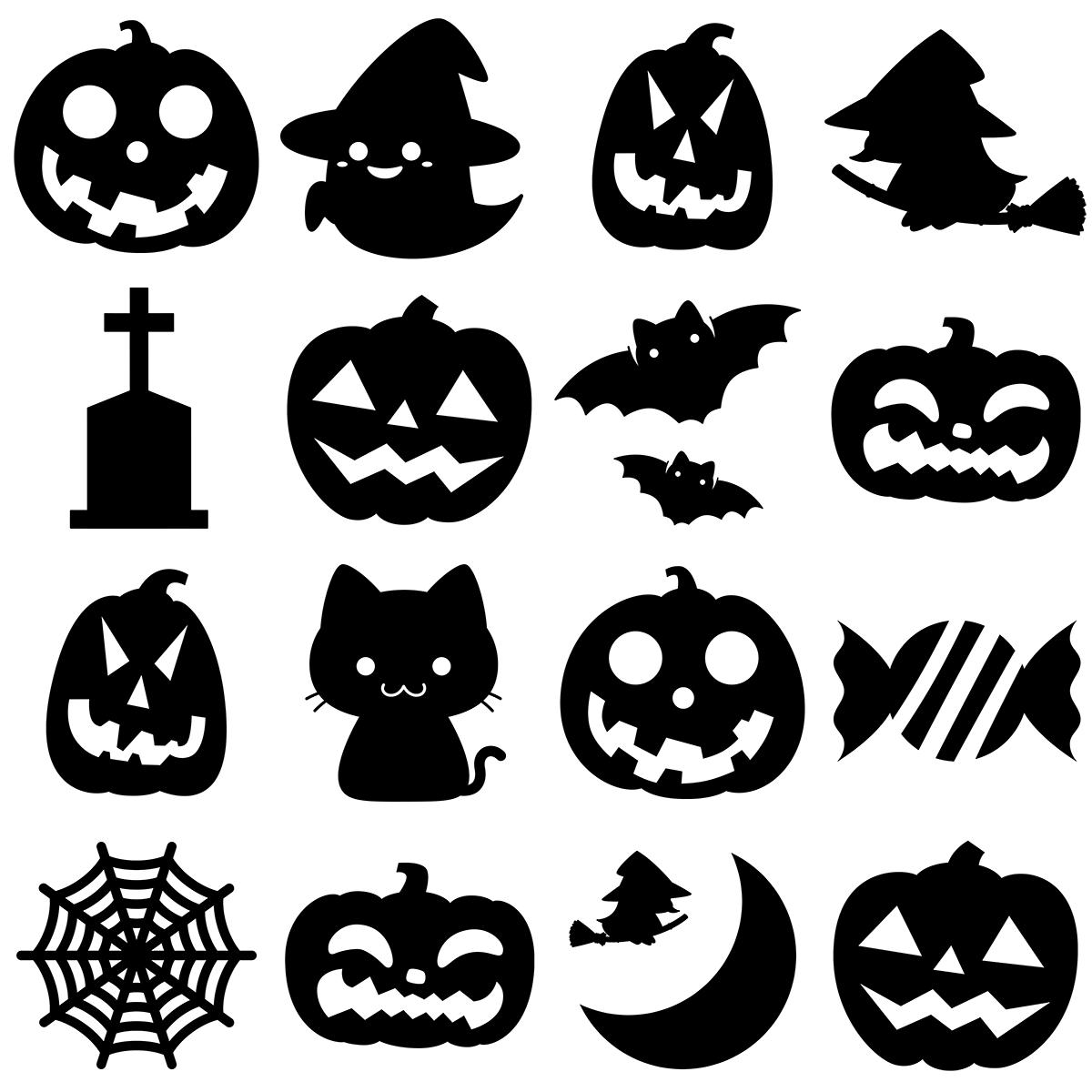 【パターン】ハロウィンのシルエットの無料イラスト