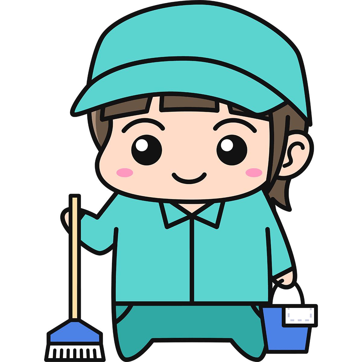 女性清掃員の無料イラスト