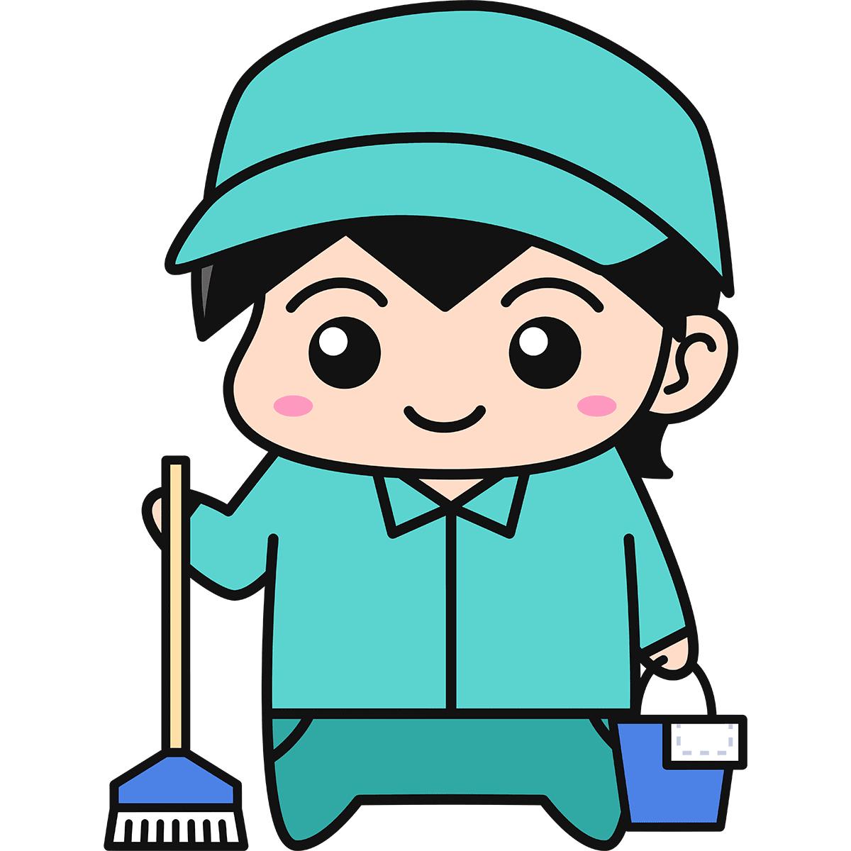 男性清掃員の無料イラスト